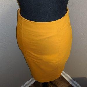 H&M Gold pencil skirt